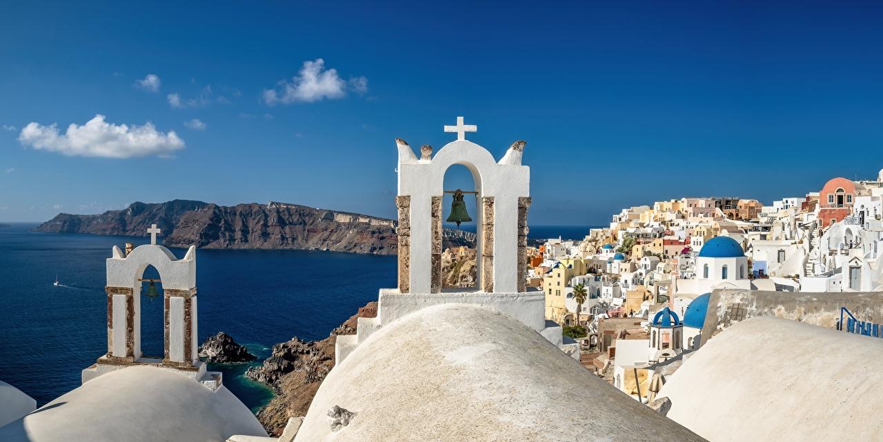 Фотография Церковь Санторини Греция Oia, Aegean Sea Море берег Здания Города Тира Фира Побережье Дома город