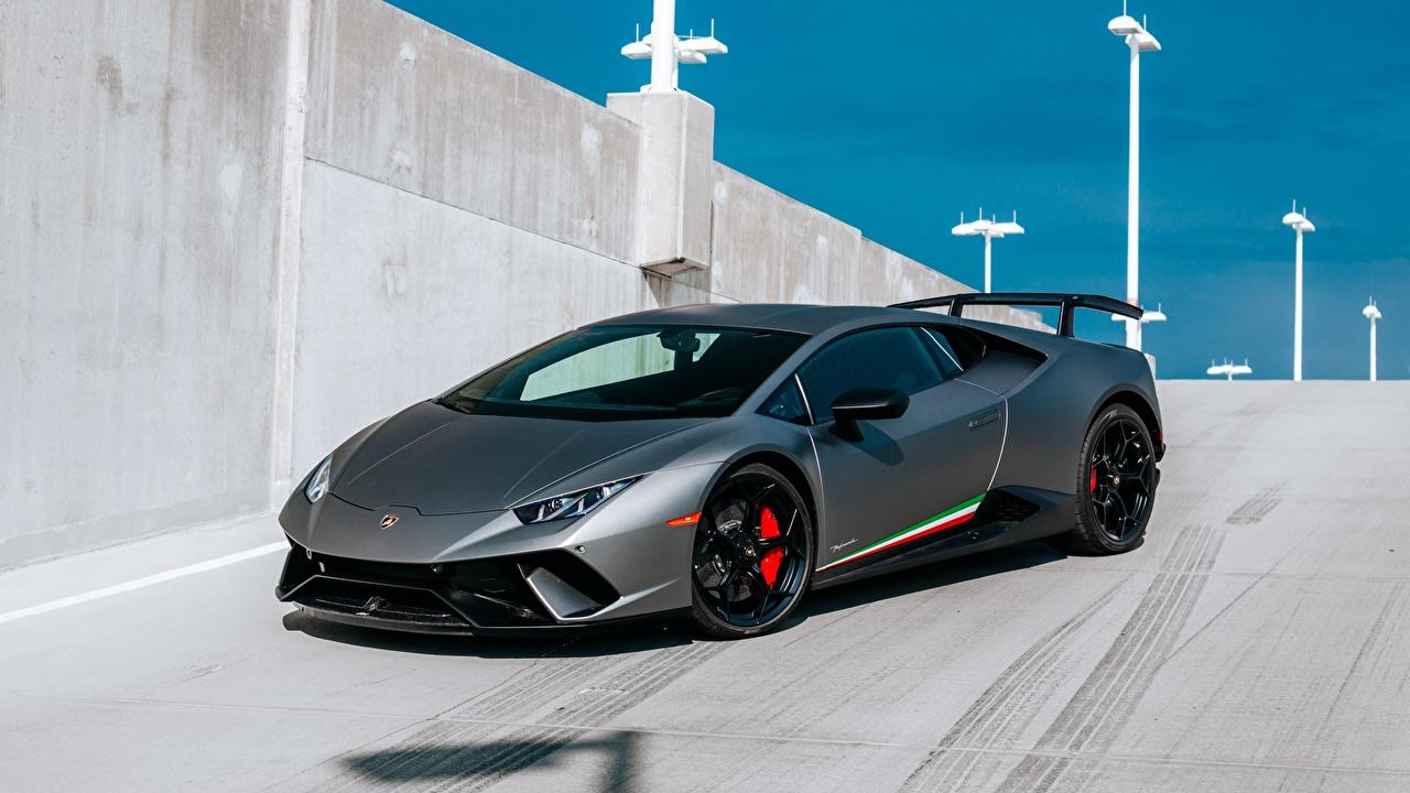 Картинки Lamborghini Huracan 2017 Performante серые машина Ламборгини Серый серая авто машины автомобиль Автомобили