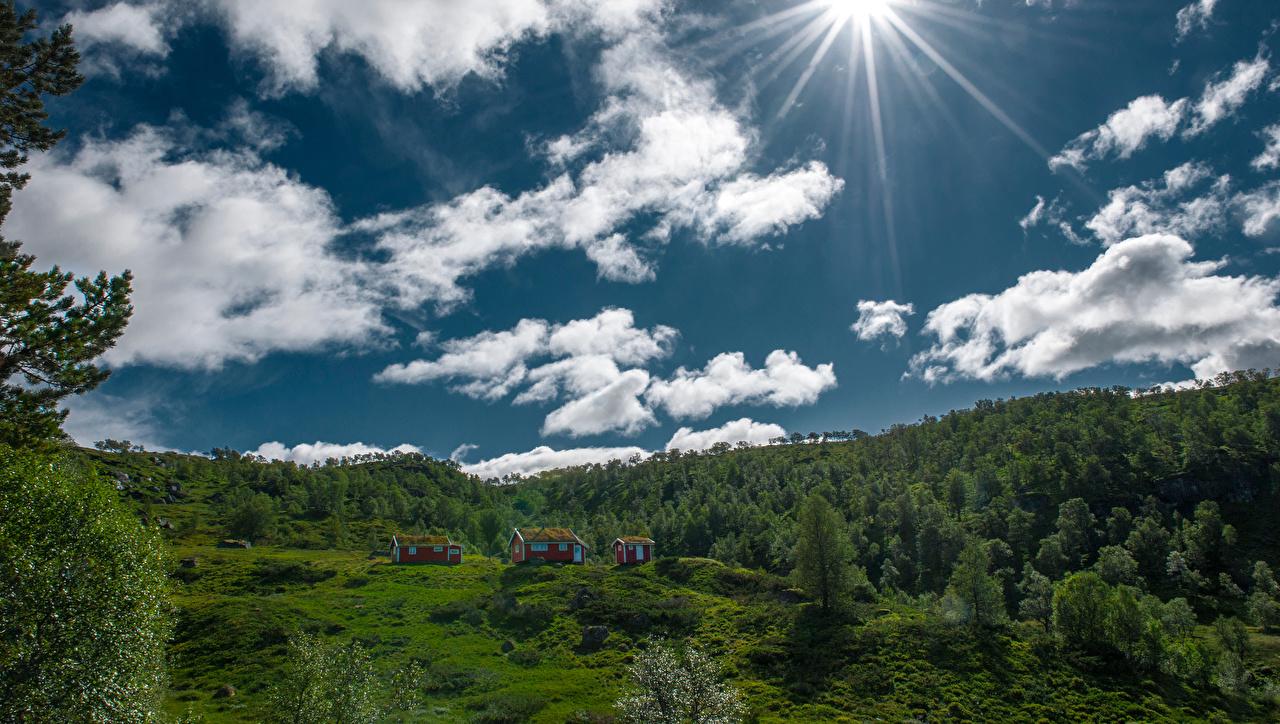 Картинка Норвегия Hjelmeland Солнце Природа Небо облачно солнца Облака облако