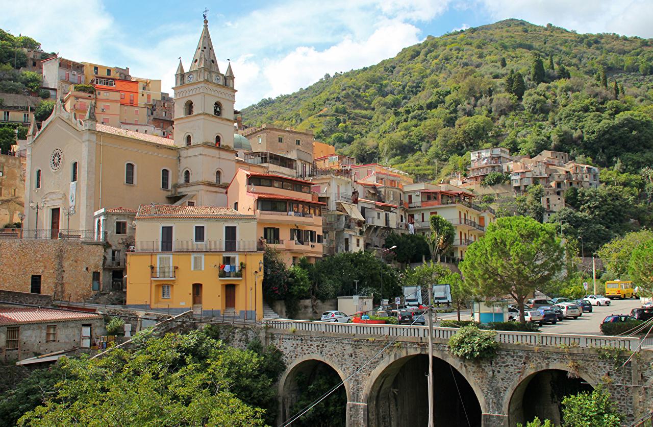 Сицилия Италия Дома Мосты  Здания Города