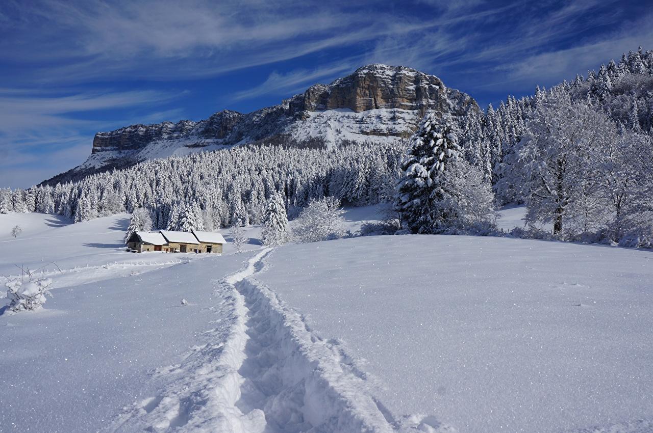 Фотография Зима гора скале Тропа Природа лес снегу Пейзаж Здания Утес Горы Скала скалы тропы зимние тропинка Снег Леса снеге снега Дома