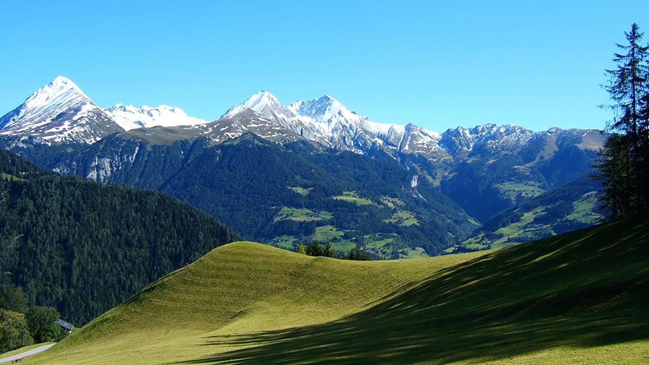 Обои для рабочего стола Альпы Австрия Горы Природа Пейзаж альп гора