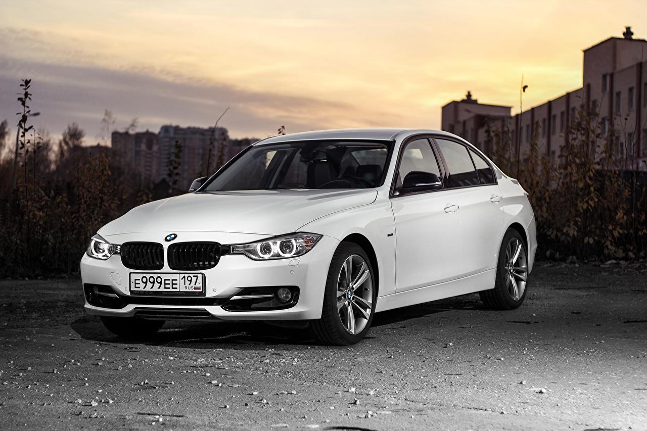 Обои для рабочего стола БМВ 3-Series F30 Седан Белый машина BMW белая белые белых авто машины Автомобили автомобиль