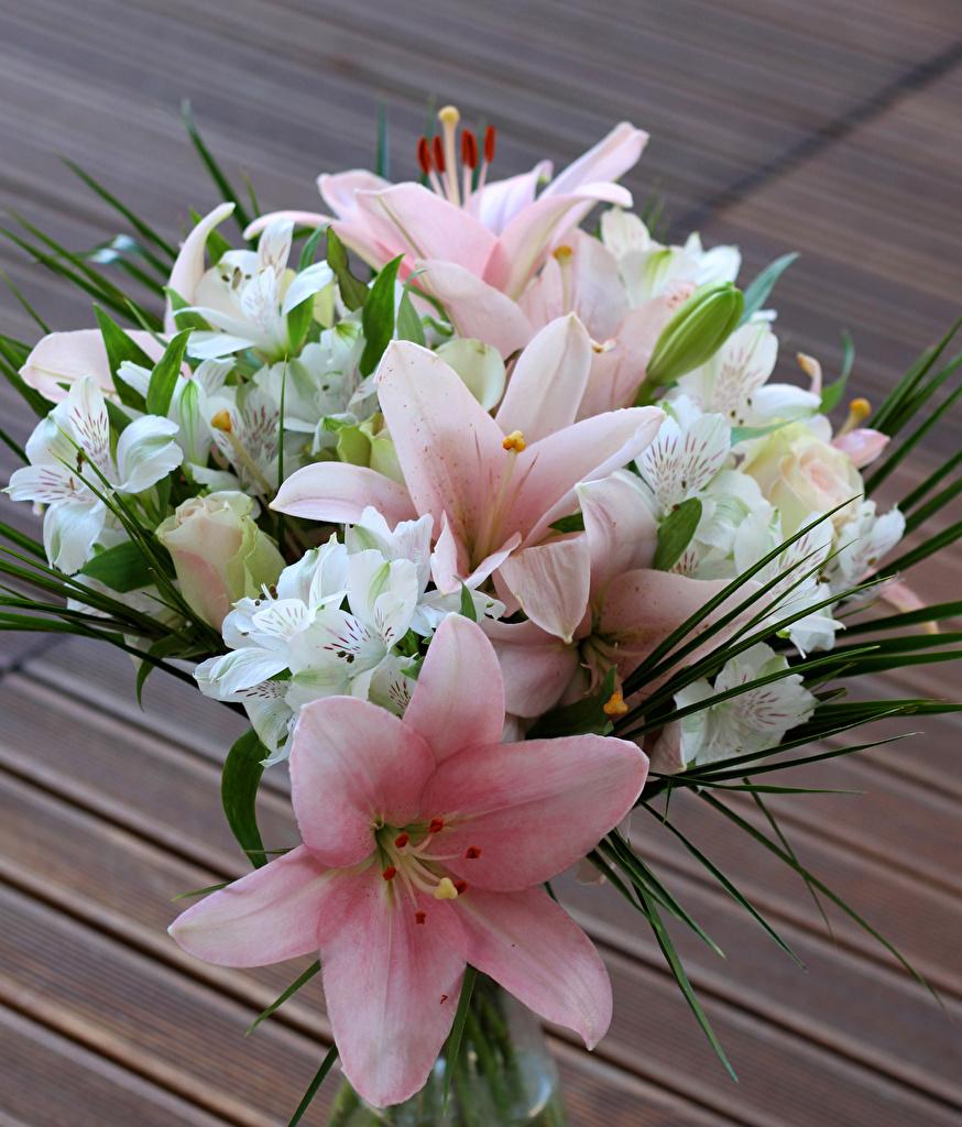 Фотографии Букеты Лилии Цветы Альстрёмерия букет лилия цветок