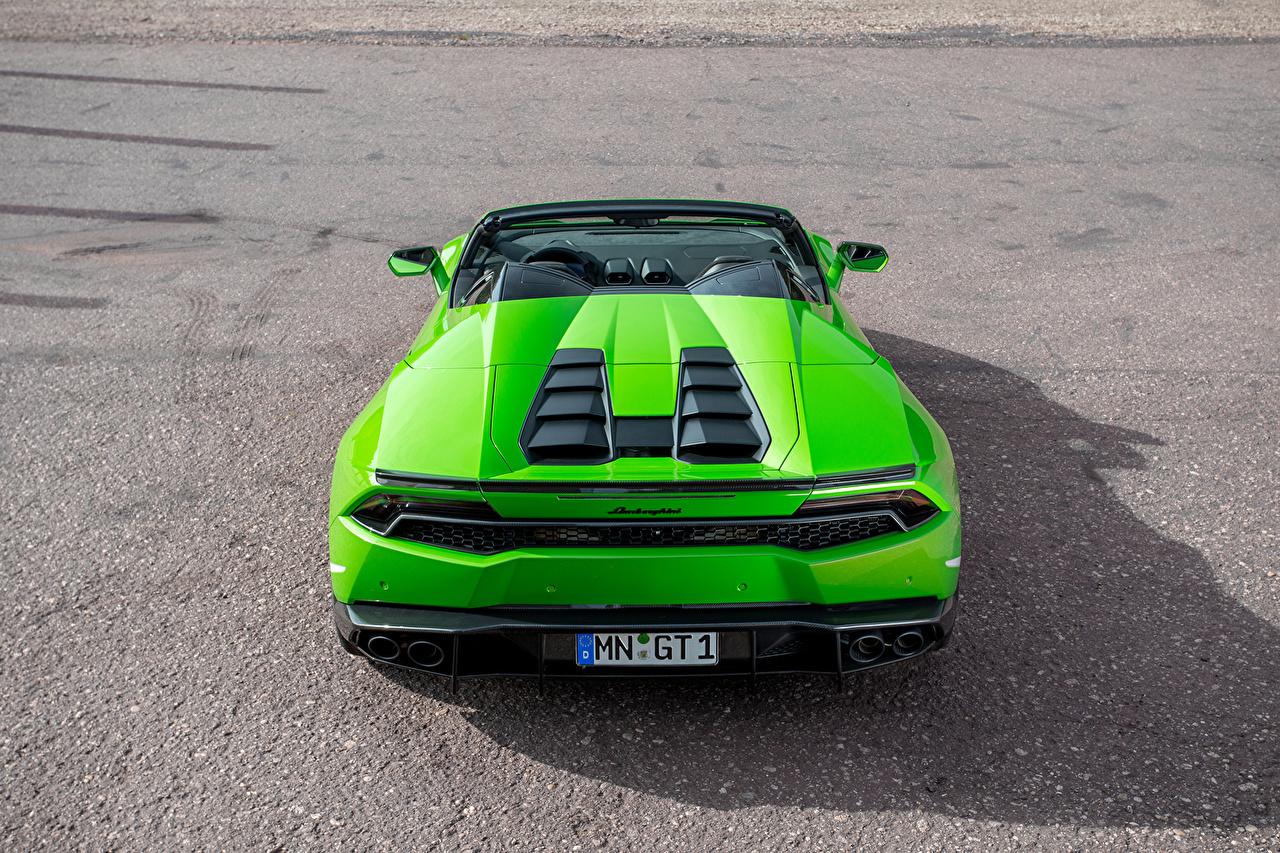 Обои для рабочего стола Lamborghini Huracan Spyder Novitec Torado зеленые авто вид сзади Ламборгини зеленых Зеленый зеленая Сзади машина машины автомобиль Автомобили