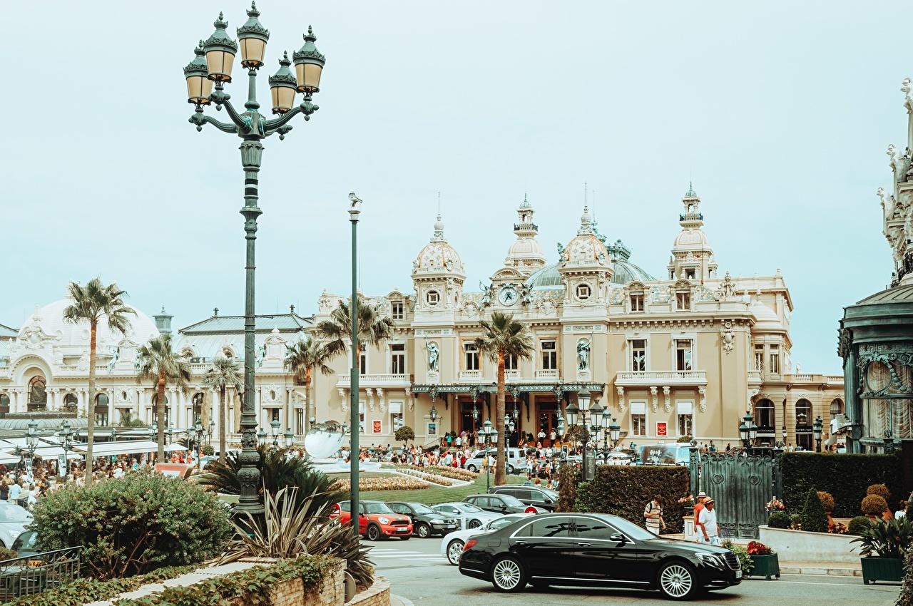 Картинки Монте-Карло Монако Казино пальма Уличные фонари город пальм Пальмы Города