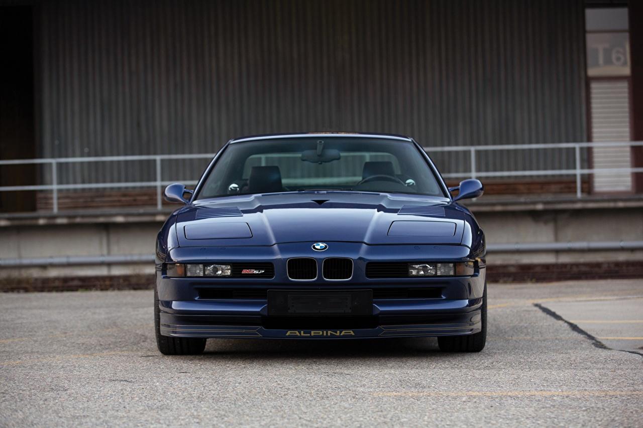Картинка BMW Alpina 8-series B12 5.7 синих авто Спереди БМВ синяя синие Синий машина машины Автомобили автомобиль