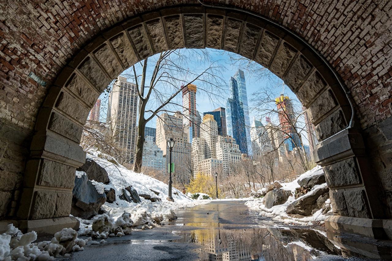 Картинки Нью-Йорк Манхэттен америка снега Тротуар Города США штаты Снег снегу снеге город