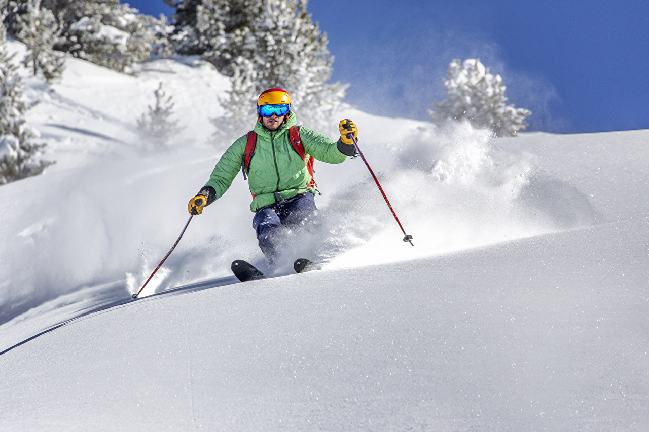 Фотографии Мужчины Спорт зимние Снег Лыжный спорт Зима