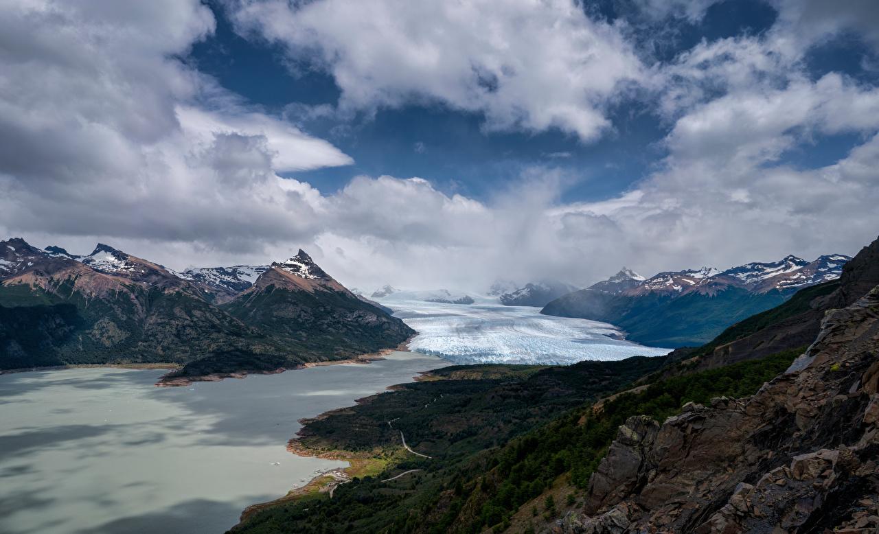 Картинки Аргентина Perito Moreno Glacier, Patagonia гора Природа облачно Горы Облака облако