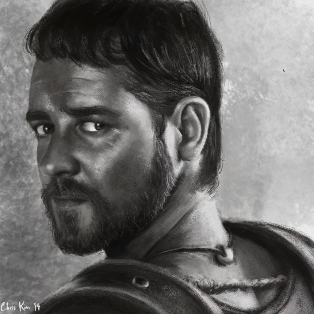 Фотографии Gladiator, Russell Crowe бородатый лица кино Взгляд Рисованные Борода бородой бородатые Лицо Фильмы смотрит смотрят