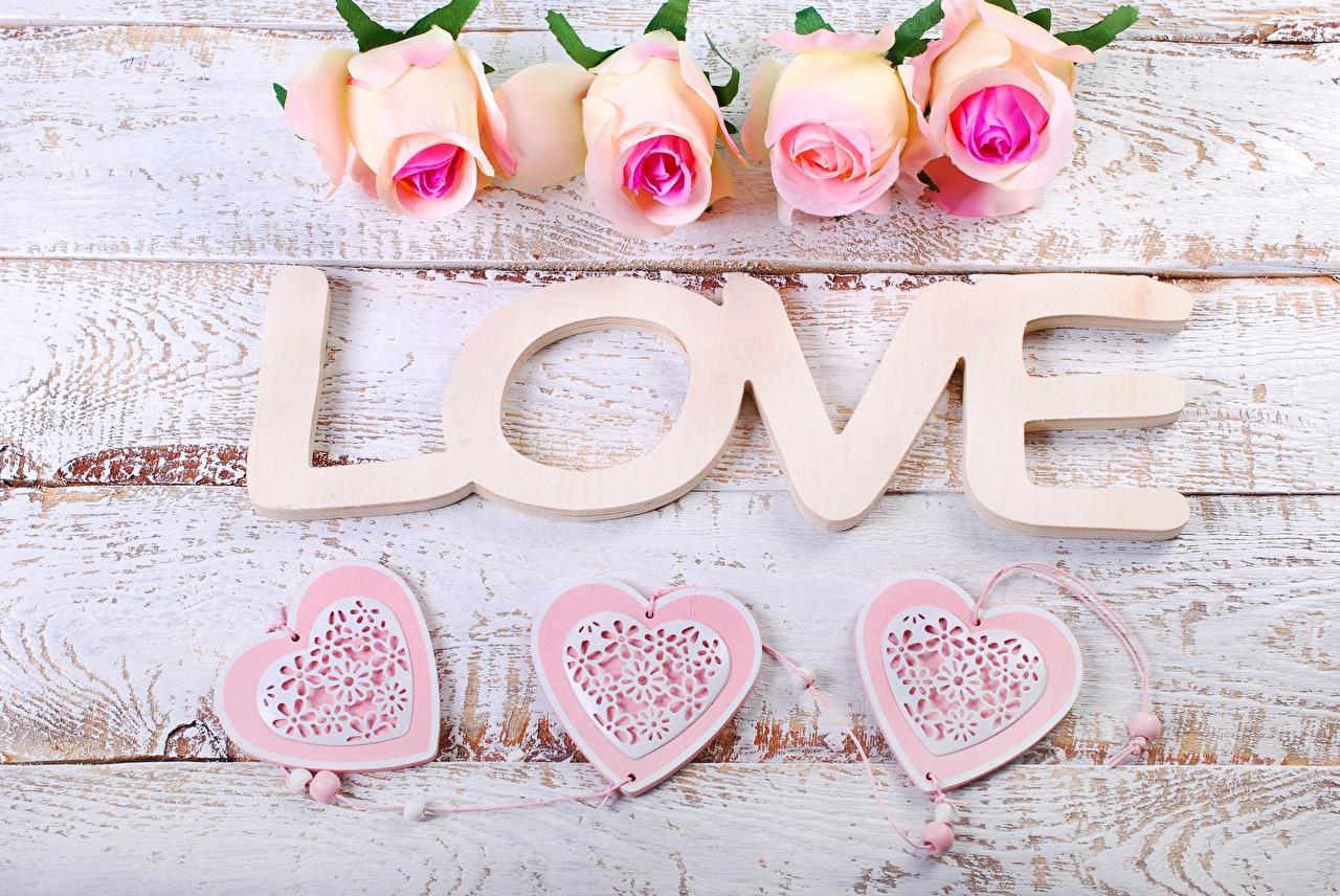 Картинка День всех влюблённых Английский Сердце Розы Любовь цветок Слово - Надпись Доски День святого Валентина английская инглийские серце сердца сердечко роза слова текст Цветы