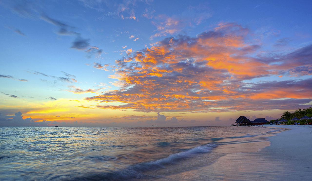 Обои Море Природа Небо Рассветы и закаты Побережье Облака берег облако облачно