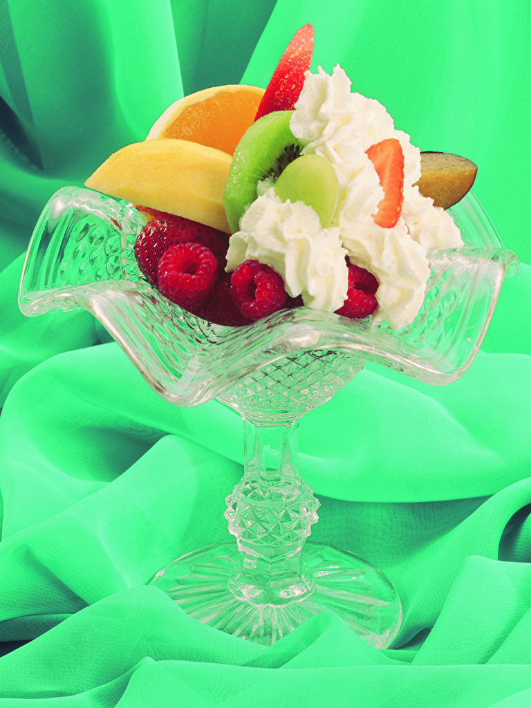 Фотография Сливки Десерт Малина Пища Фрукты сладкая еда  для мобильного телефона сливками Еда Продукты питания Сладости