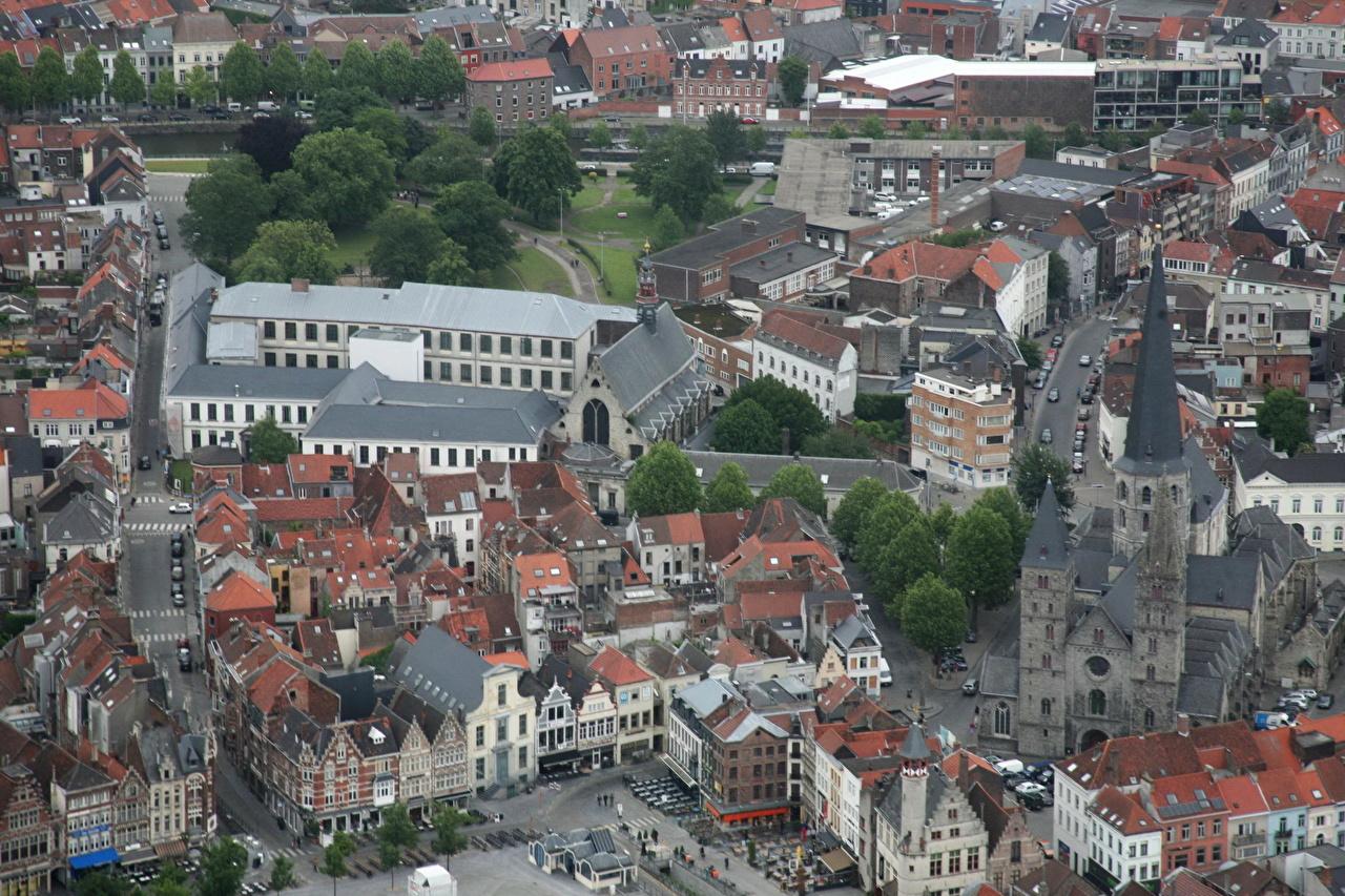 Фотография Гент Бельгия Сверху Дома город Здания Города