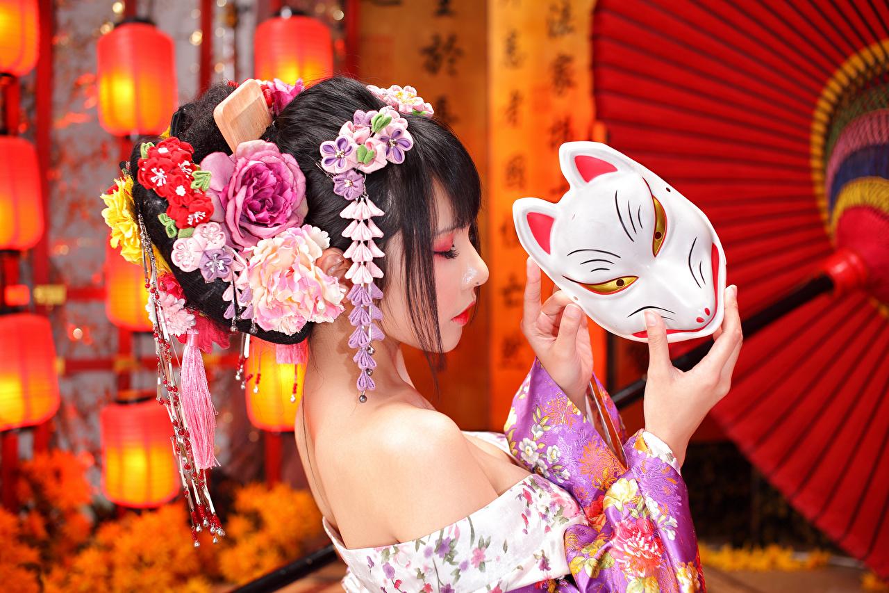 Картинка Брюнетка прически Девушки азиатка Маски брюнетки брюнеток Причёска девушка молодая женщина молодые женщины Азиаты азиатки