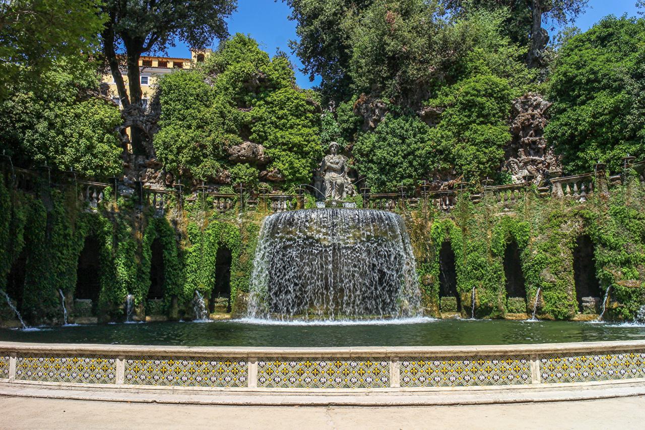 Фотографии Италия Фонтаны Villa De Este Tivoli Природа Водопады парк Скульптуры Парки скульптура