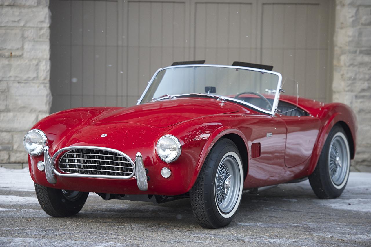Фото SSC 1965 Cobra 289 Кабриолет Ретро Красный Металлик Автомобили Shelby Super Cars кабриолета Винтаж красных красные красная старинные авто машина машины автомобиль