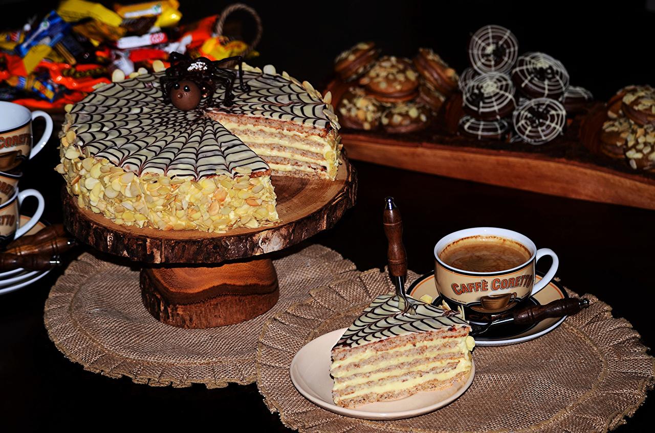 Картинки Кофе Торты Чашка Продукты питания сладкая еда Еда Пища чашке Сладости