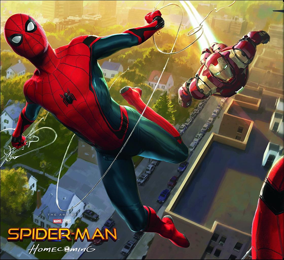 Картинка Человек-паук: Возвращение домой Герои комиксов Человек паук герой Железный человек герой Кино Фильмы