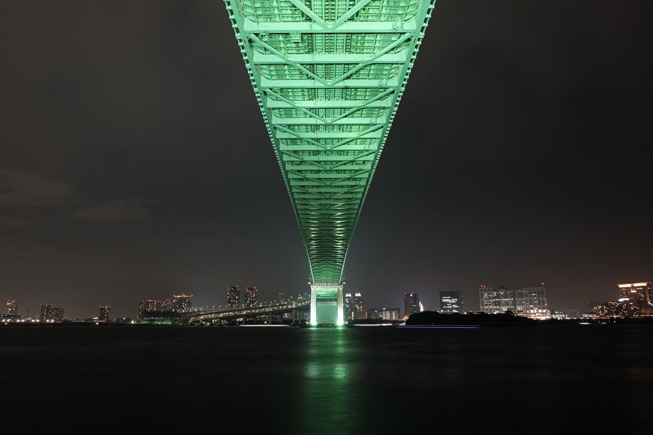 Фотография Токио Япония Rainbow Bridge Мосты Ночные Города Ночь