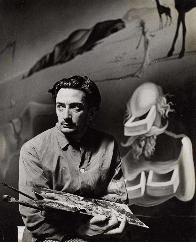 Фотографии Сальвадор Дали Мужчины Черно белое Знаменитости Salvador Dali черно белые
