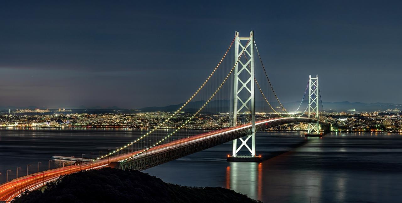 Фото Япония Akashi-Kaikyo Bridge, Akashi Strait мост Залив Ночные Города Мосты Ночь ночью в ночи залива заливы город