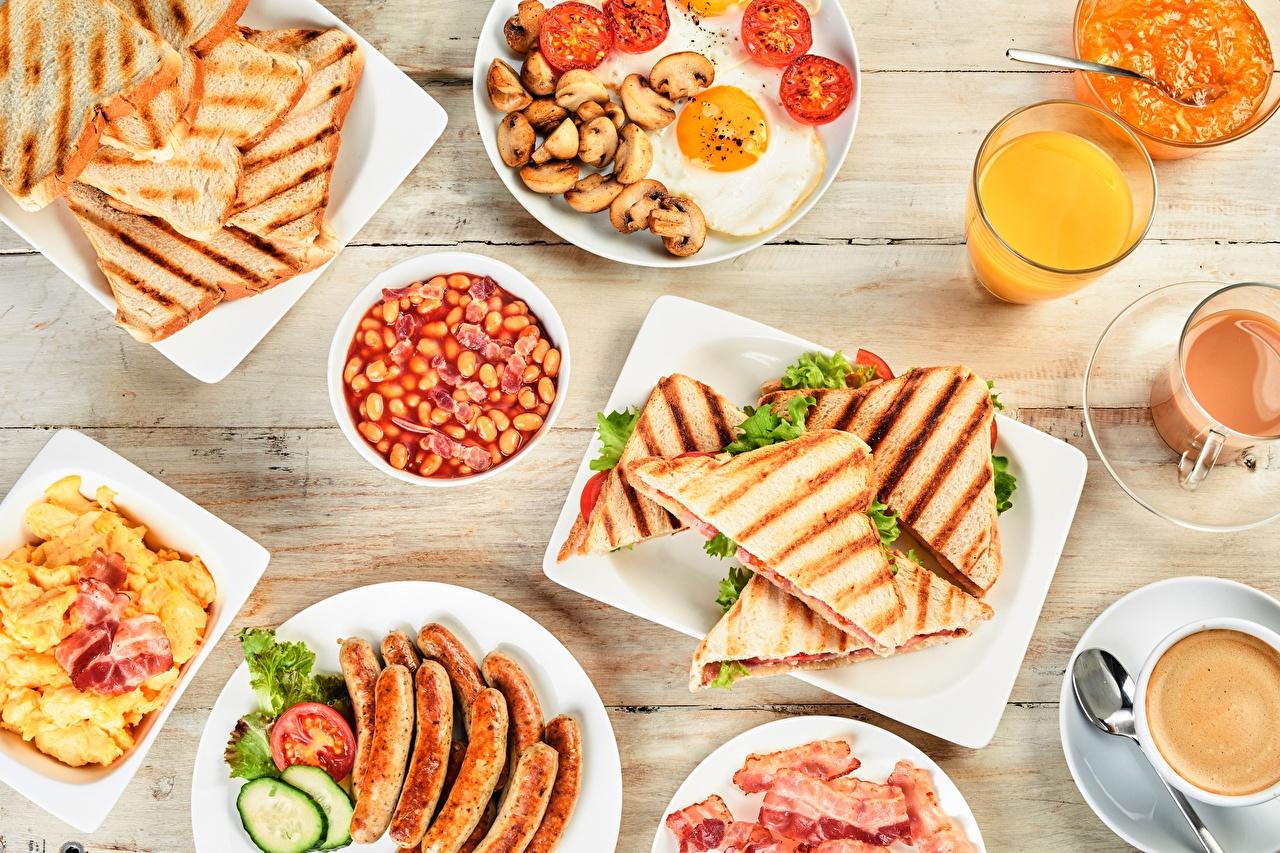 Картинка Сок Завтрак Сэндвич Хлеб Сосиска Продукты питания Еда Пища