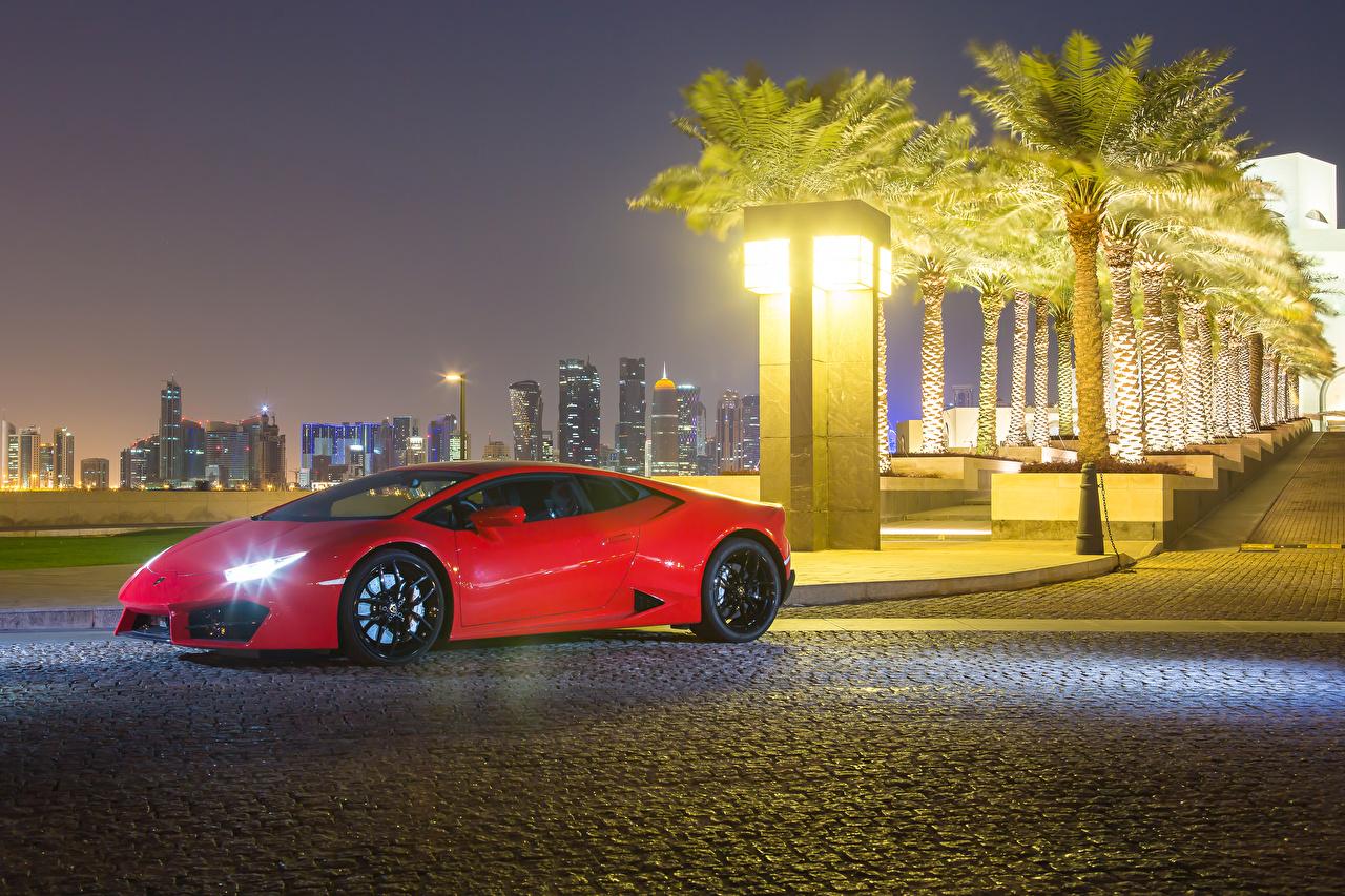 Фотографии Ламборгини 2015-17 Huracan LP 580-2 красных Металлик автомобиль Lamborghini красная красные Красный авто машины машина Автомобили