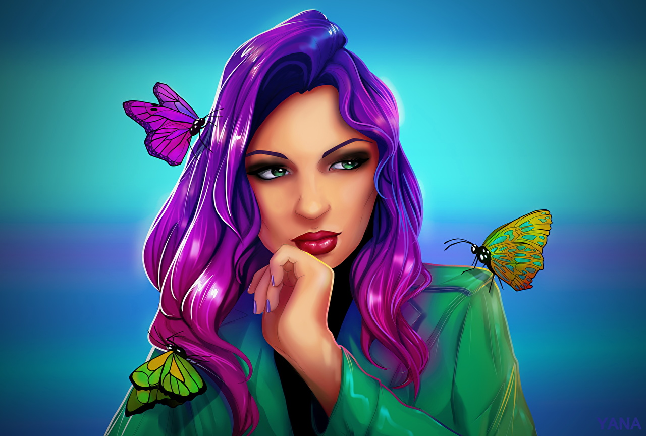 Обои для рабочего стола Бабочки девушка Рисованные бабочка Девушки молодая женщина молодые женщины