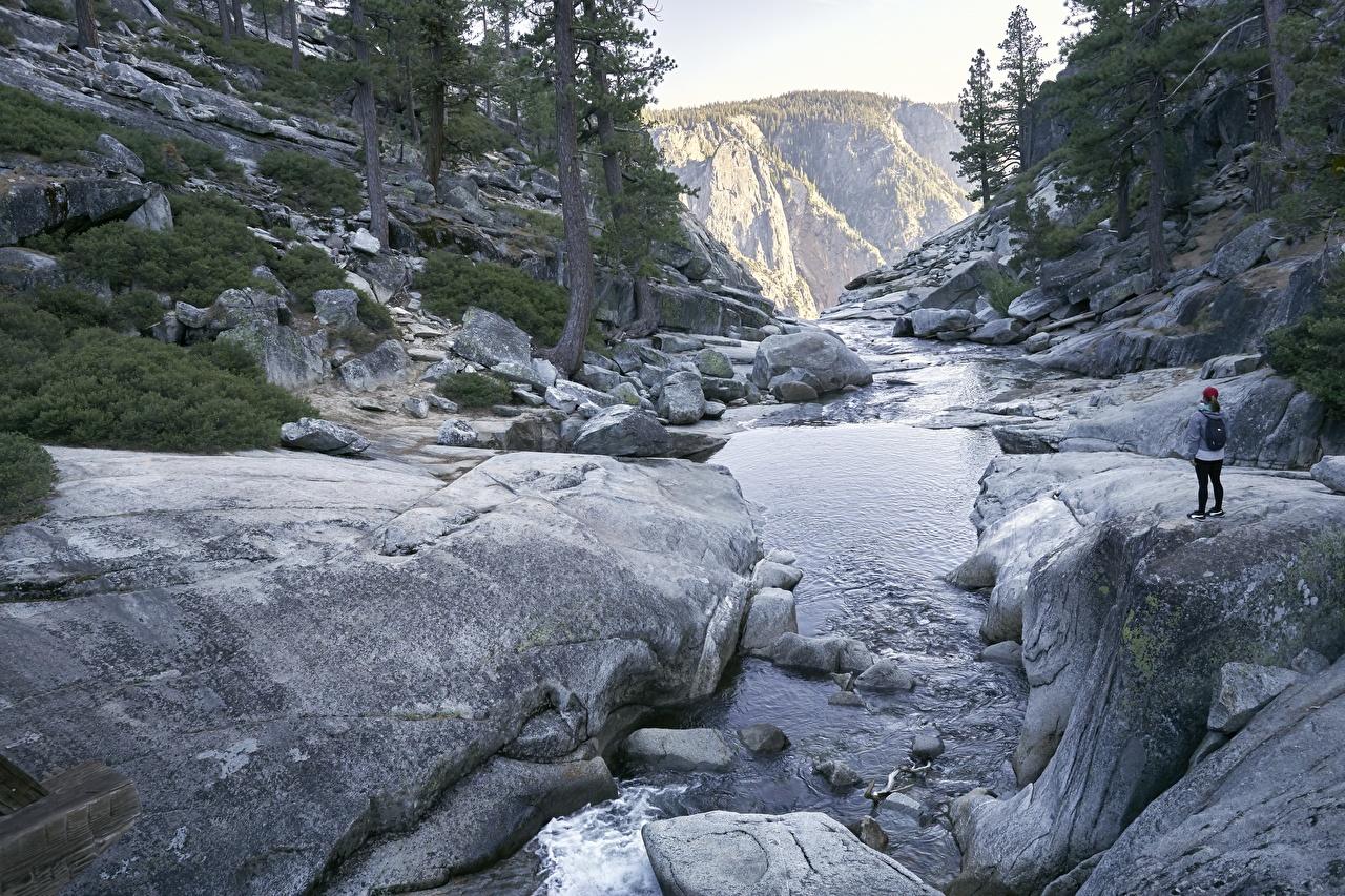 Фото Йосемити Калифорния США Природа Парки Реки Камни калифорнии штаты америка парк река речка Камень