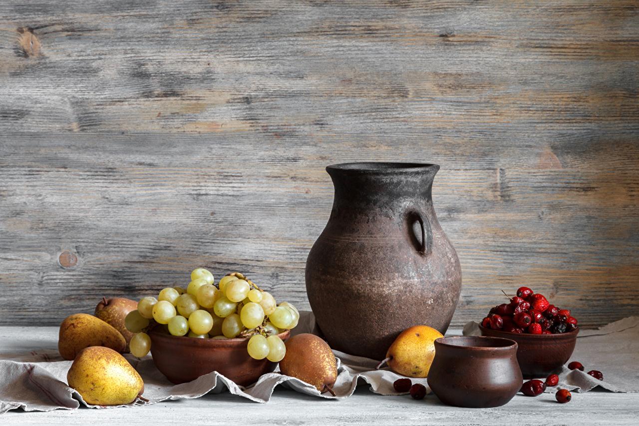 Фотография Груши Кувшин Виноград Еда Ягоды Натюрморт кувшины Пища Продукты питания