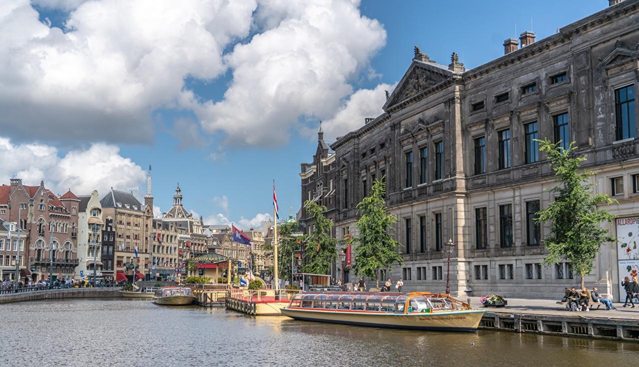 Фотография Амстердам голландия Водный канал Речные суда Пирсы город Нидерланды Причалы Пристань Города