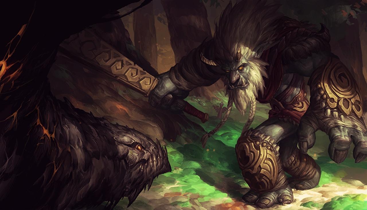 Обои для рабочего стола LOL Монстры Trundle, Troll King Фантастика компьютерная игра League of Legends монстр чудовище Фэнтези Игры