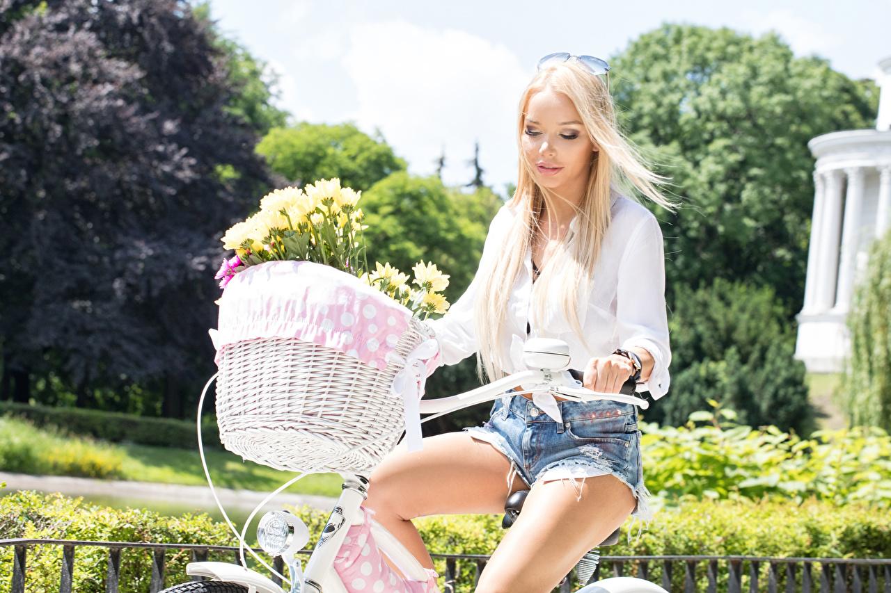Картинки Блондинка Велосипедный руль Девушки Корзинка Очки Шорты Корзина