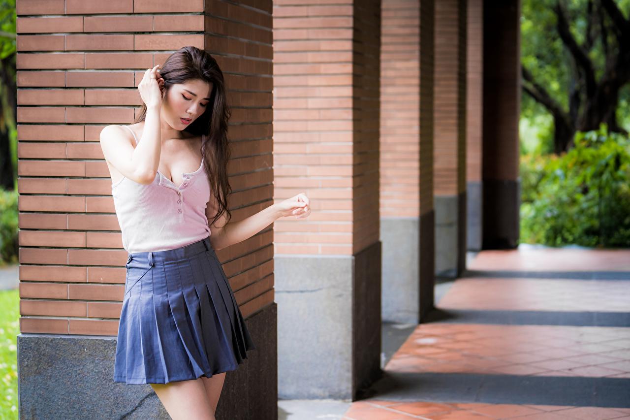 Картинки Юбка боке Поза Блузка молодая женщина азиатки юбки юбке Размытый фон позирует девушка Девушки молодые женщины Азиаты азиатка
