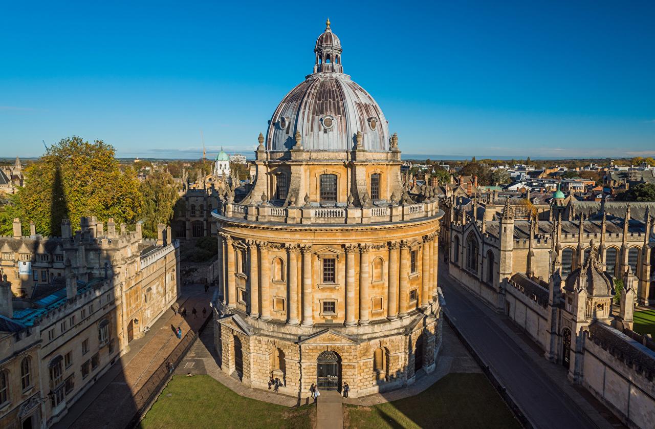 Картинки Англия библиотеке Radcliffe Camera, Oxford Здания Города Библиотека Дома город