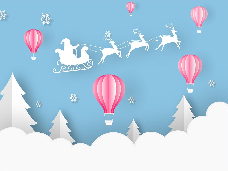 Фото Олени Новый год Санки аэростат ели Дед Мороз Рождество Сани санях санках Воздушный шар Ель Санта-Клаус