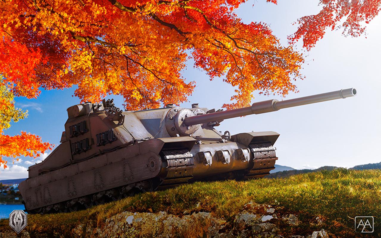 紅葉と戦車の壁紙