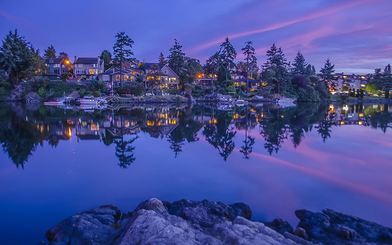Картинки Канада Vancouver Island British Columbia Природа речка Дома Реки река Здания