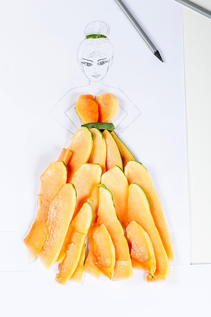 Фотографии Papaya Девушки кусочек оригинальные Еда  для мобильного телефона девушка молодая женщина молодые женщины часть Кусок Креатив кусочки креативные Пища Продукты питания