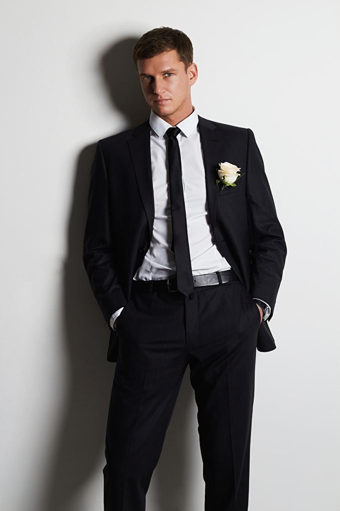 Обои для рабочего стола Мужчины Галстук классический костюм смотрит сером фоне  для мобильного телефона мужчина галстуке галстуком Костюм костюме костюма Взгляд смотрят Серый фон