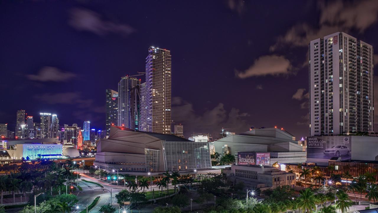 Фотография Майами Флорида США Ночь Дома Города штаты америка ночью в ночи Ночные город Здания