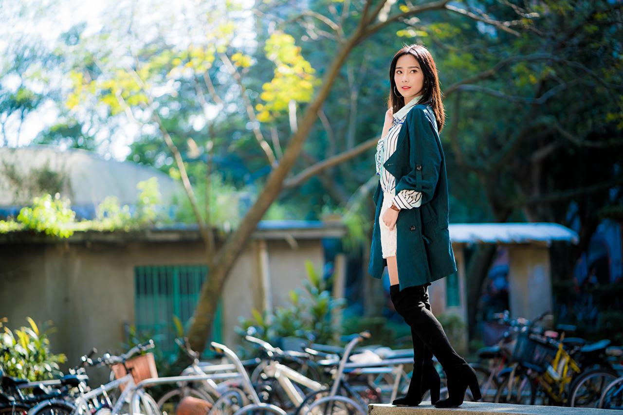 Фото боке позирует молодая женщина Азиаты Взгляд Размытый фон Поза девушка Девушки молодые женщины азиатки азиатка смотрит смотрят