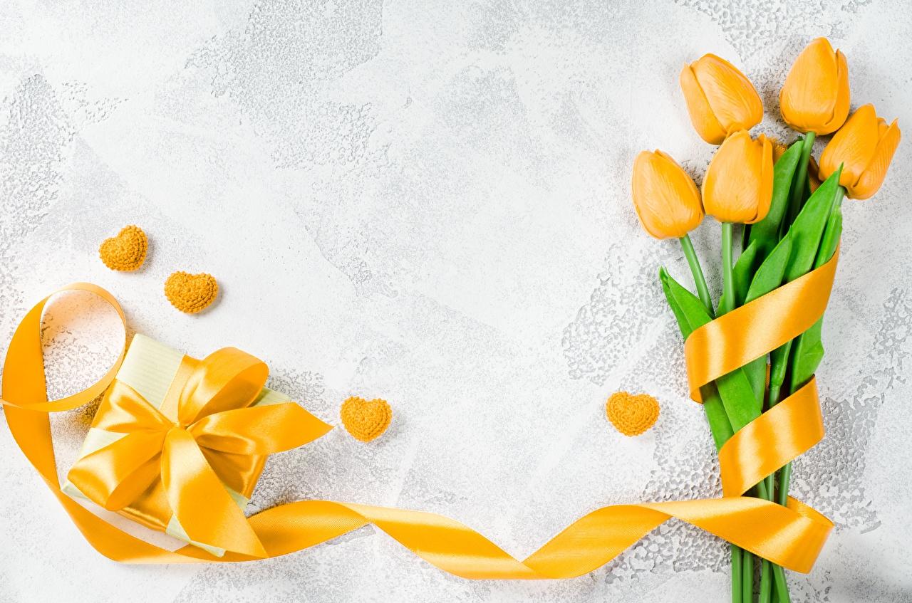 Фотографии День святого Валентина желтые Тюльпаны Цветы подарок ленточка Шаблон поздравительной открытки День всех влюблённых желтых Желтый желтая тюльпан цветок Подарки подарков Лента