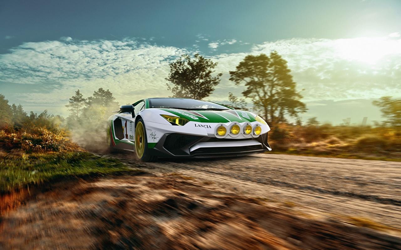 Фотография Lamborghini LP750-4 SV Alitalia Tribute THOMAS VAN ROOIJ Движение машина Ламборгини едет едущий едущая скорость авто машины Автомобили автомобиль