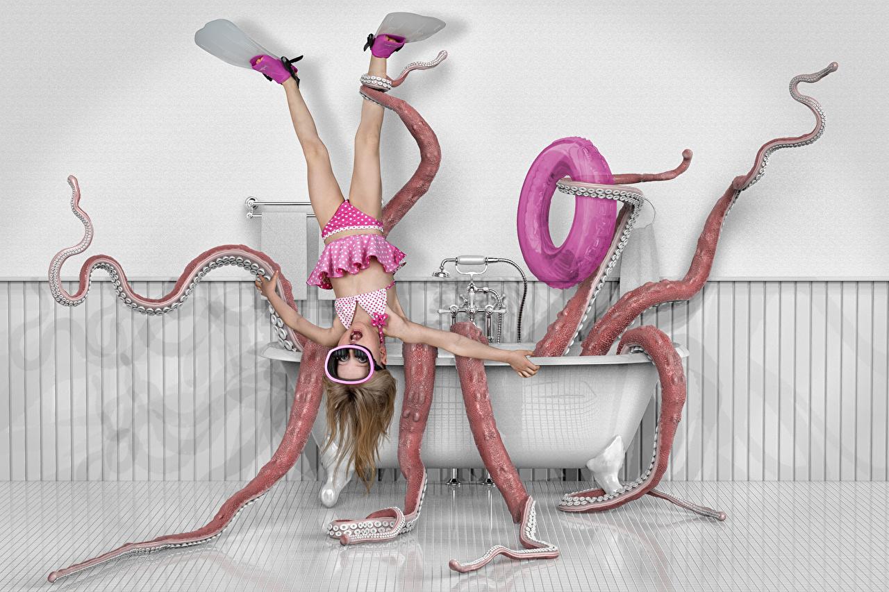 Фотографии Смешные девочка Ванная ребёнок оригинальные Юмор Девочки Дети Креатив креативные
