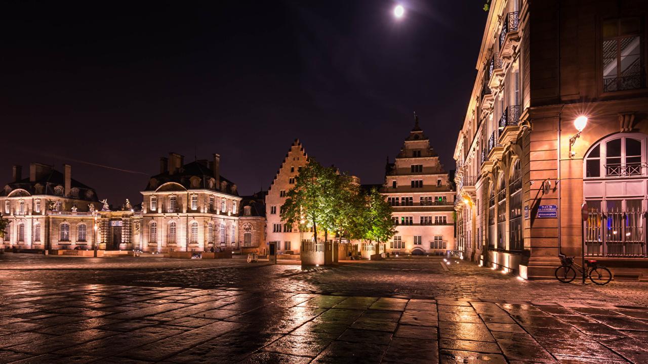 Фотографии Страсбург Франция Улица ночью Уличные фонари Дома Города улиц улице Ночь в ночи Ночные город Здания