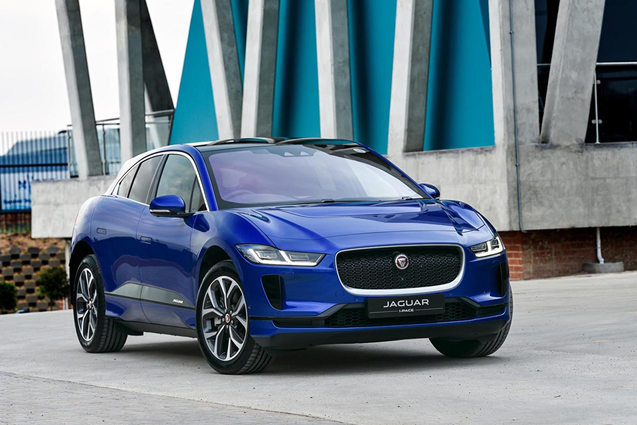 Картинка Ягуар 2019 I-Pace EV400 AWD HSE Синий машина Металлик Jaguar синих синие синяя авто машины автомобиль Автомобили