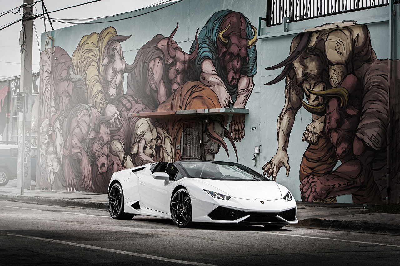 Обои Ламборгини Huracan Белый Граффити Автомобили Lamborghini белых белые белая авто машина машины автомобиль